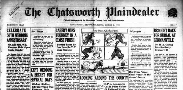 Chatsworth Plaindealer Front Page Image - March 2, 1944